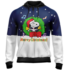 Snoopy x Christmas Unisex Zip Up Hoodie Fullprinted Zip Up Hoodie - WackyTee