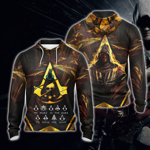 Assassin's Creed We Work In The Dark To Serve The Light Unisex 3D Zip Up Hoodie