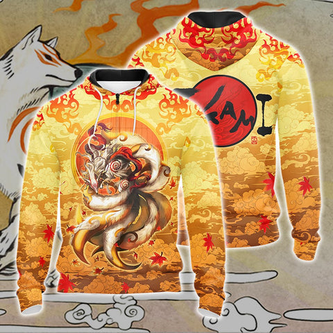Nine Tail Okami Fox Unisex 3D Zip Up Hoodie