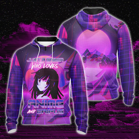 Just A Gamer Who Loves Anime And Waifus Unisex 3D Zip Up Hoodie