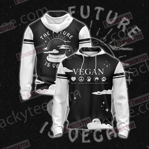The Future Is Vegan Zip Up Hoodie US/EU XXS (ASIAN S) Fullprinted Zip Up Hoodie - WackyTee