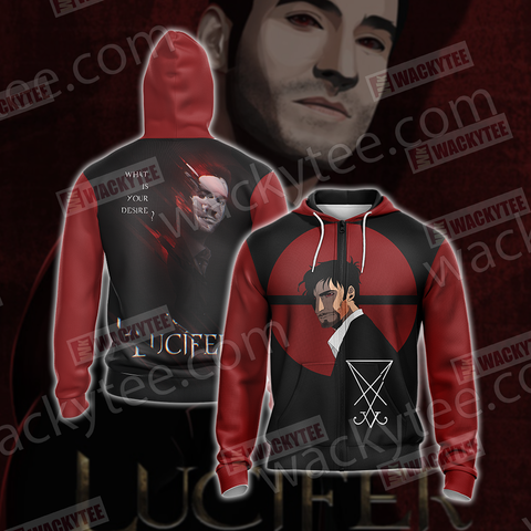 Lucifer New Version Unisex Zip Up Hoodie Jacket US/EU XXS (ASIAN S) Fullprinted Zip Up Hoodie - WackyTee