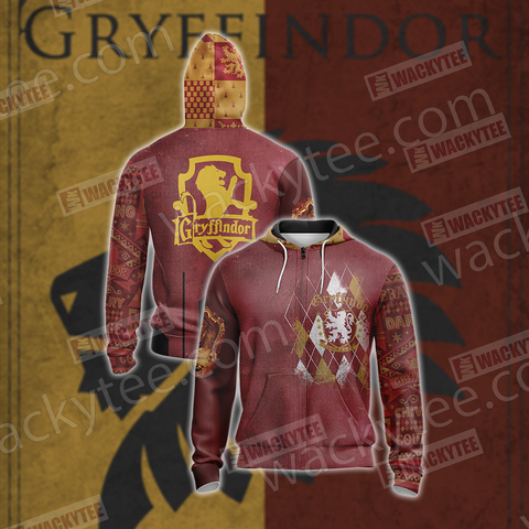 Harry Potter - Gryffindor House Unisex Zip Up Hoodie US/EU XXS (ASIAN S) Fullprinted Zip Up Hoodie - WackyTee