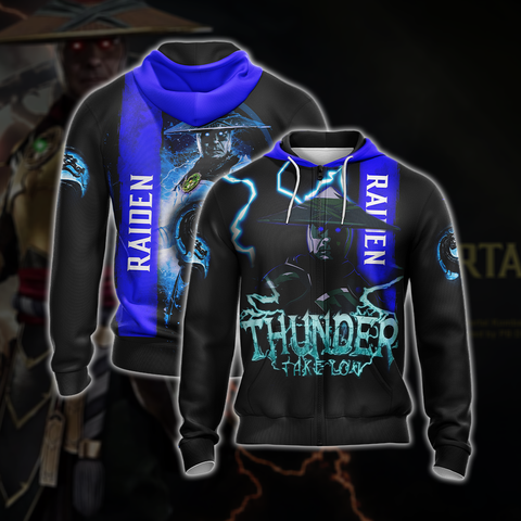 Mortal Kombat Raiden Unisex 3D Zip Up Hoodie US/EU XXS (ASIAN S) Fullprinted Zip Up Hoodie - WackyTee