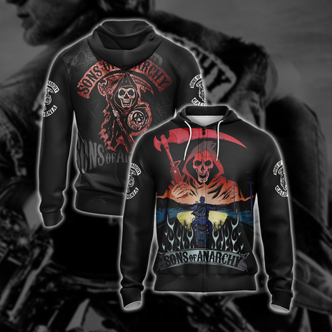 Sons of Anarchy New Style Unisex Zip Up Hoodie US/EU XXS (ASIAN S) Fullprinted Zip Up Hoodie - WackyTee