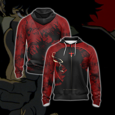 Cowboy Bebop - Spike Unisex Zip Up Hoodie US/EU XXS (ASIAN S) Fullprinted Zip Up Hoodie - WackyTee