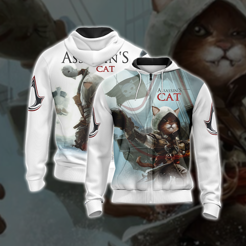 Assassin's Creed III-IV Cat Unisex 3D Zip Up Hoodie US/EU XXS (ASIAN S) Fullprinted Zip Up Hoodie - WackyTee