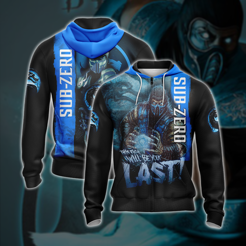 Mortal Kombat Sub Zero This Time Will Be Your Last Unisex 3D Zip Up Hoodie US/EU XXS (ASIAN S) Fullprinted Zip Up Hoodie - WackyTee