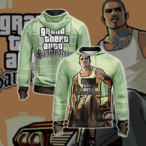 Grand Theft Auto: San Andreas Unisex Zip Up Hoodie US/EU XXS (ASIAN S) Fullprinted Zip Up Hoodie - WackyTee