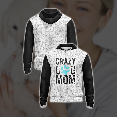 Crazy Dog Mom Mommy Family Unisex Zip Up Hoodie US/EU XXS (ASIAN S) Fullprinted Zip Up Hoodie - WackyTee