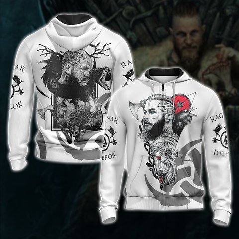 Vikings- Ragnar Lodbrok Unisex Zip Up Hoodie US/EU XXS (ASIAN S) Fullprinted Zip Up Hoodie - WackyTee