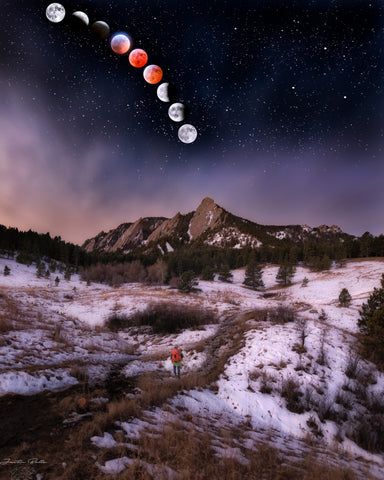 Flatirons Composite of Lunar Eclipse 2019
