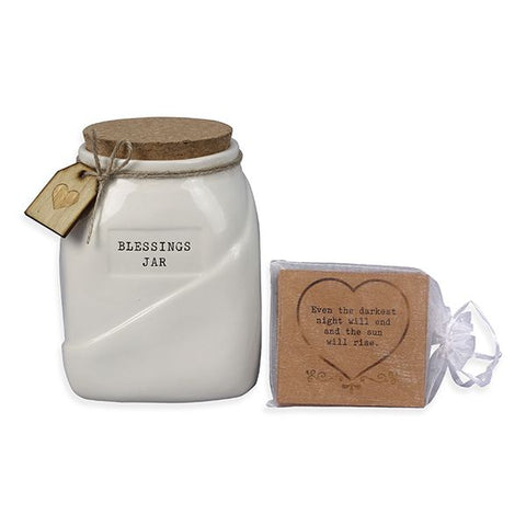 Ceramic Blessing Jar w/ cards
