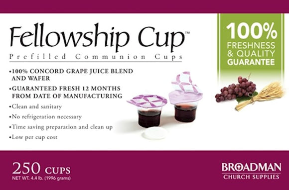 Holy Communion - Fellowship Cup Prefilled Juice/Wafer (Box Of 250)
