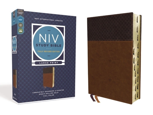 NIV Study Bible, Fully Revised Edition, Large Print, Leathersoft, Brown, Red Letter, Thumb Indexed, Comfort Print by Barker, Kenneth L.