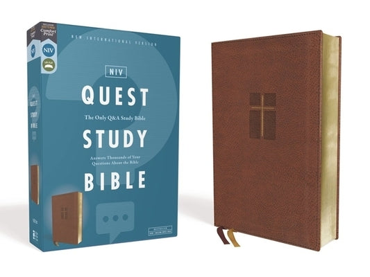 Niv, Quest Study Bible, Leathersoft, Brown, Comfort Print: The Only Q and A Study Bible by Christianity Today Intl