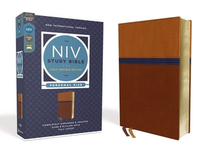 NIV Study Bible, Fully Revised Edition, Personal Size, Leathersoft, Brown/Blue, Red Letter, Comfort Print by Barker, Kenneth L.