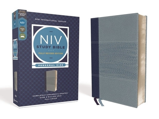 NIV Study Bible, Fully Revised Edition, Personal Size, Leathersoft, Navy/Blue, Red Letter, Comfort Print by Barker, Kenneth L.