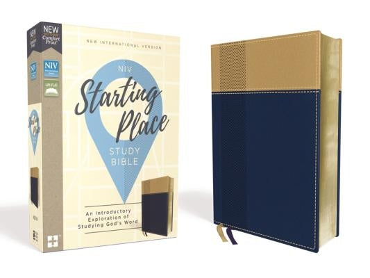 Niv, Starting Place Study Bible, Leathersoft, Blue/Tan, Comfort Print: An Introductory Exploration of Studying God's Word by Zondervan