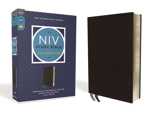 NIV Study Bible, Fully Revised Edition, Bonded Leather, Black, Red Letter, Comfort Print by Barker, Kenneth L.
