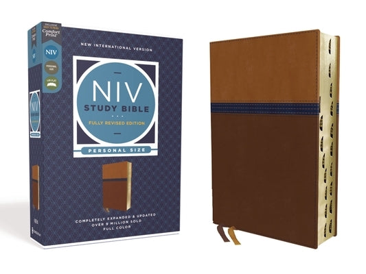 NIV Study Bible, Fully Revised Edition, Personal Size, Leathersoft, Brown/Blue, Red Letter, Thumb Indexed, Comfort Print by Barker, Kenneth L.