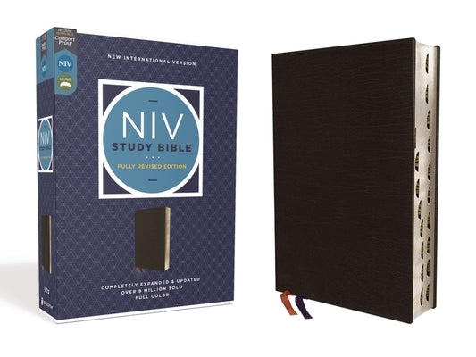 NIV Study Bible, Fully Revised Edition, Bonded Leather, Black, Red Letter, Thumb Indexed, Comfort Print by Barker, Kenneth L.