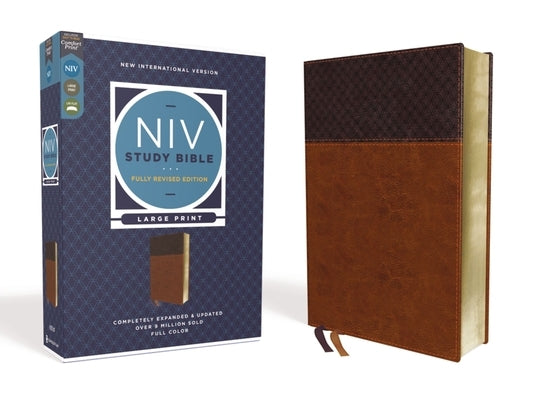 NIV Study Bible, Fully Revised Edition, Large Print, Leathersoft, Brown, Red Letter, Comfort Print by Barker, Kenneth L.