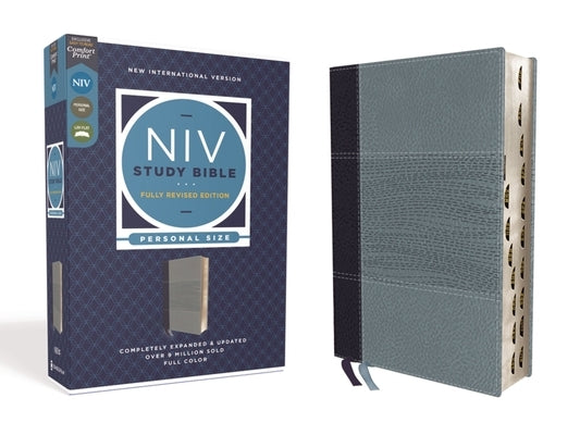 NIV Study Bible, Fully Revised Edition, Personal Size, Leathersoft, Navy/Blue, Red Letter, Thumb Indexed, Comfort Print by Barker, Kenneth L.