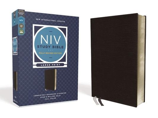 NIV Study Bible, Fully Revised Edition, Large Print, Bonded Leather, Black, Red Letter, Comfort Print by Barker, Kenneth L.