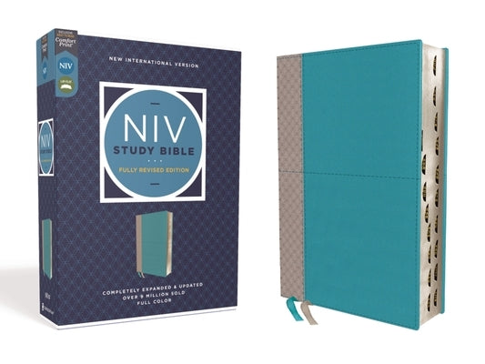 NIV Study Bible, Fully Revised Edition, Leathersoft, Teal/Gray, Red Letter, Thumb Indexed, Comfort Print by Barker, Kenneth L.