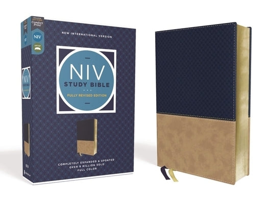 NIV Study Bible, Fully Revised Edition, Leathersoft, Navy/Tan, Red Letter, Comfort Print by Barker, Kenneth L.