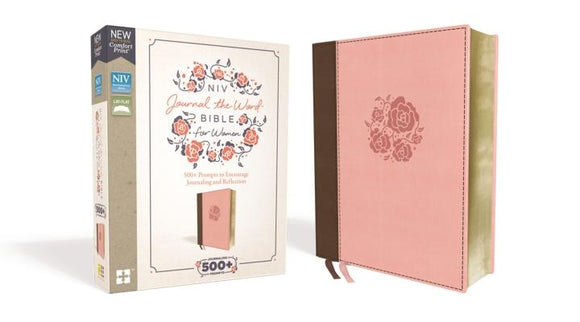 NIV, Journal the Word Bible for Women, Leathersoft, Pink, Red Letter Edition, Comfort Print: 500+ Prompts to Encourage Journaling and Reflection by Zondervan