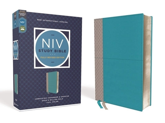 NIV Study Bible, Fully Revised Edition, Leathersoft, Teal/Gray, Red Letter, Comfort Print by Barker, Kenneth L.