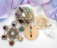 Crystal grid with sacred geometry