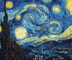 Van Gogh's The Starry Night with Lapis Lazuli Crystals