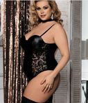 BLACK Plus Size WETLOOK & LACE BODYSUIT WITH G-STRING BOTTOM
