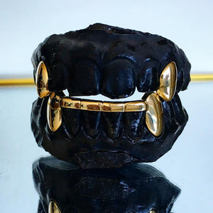 Bottom Fang Grillz With Bar & 2 Tops