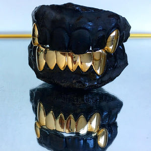 6 Teeth Bottom Gold Grillz & 2 Top Gold Caps