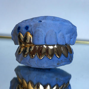 6 Teeth Gold Bottom Grillz With 2 Top Slugs