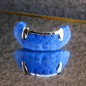 Gold Bottom Fang Grillz With Bar