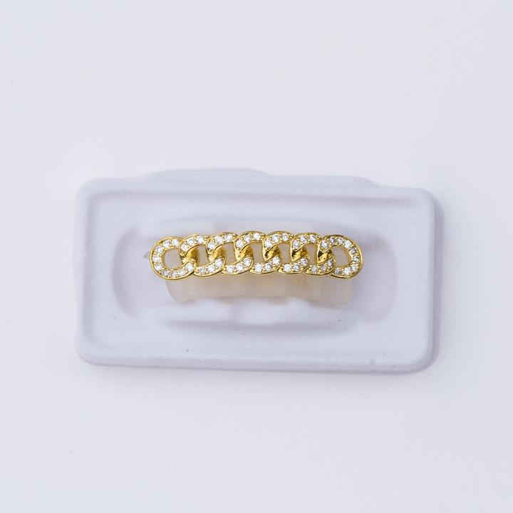 Fake 14K Gold Cuban Link CZ Grillz