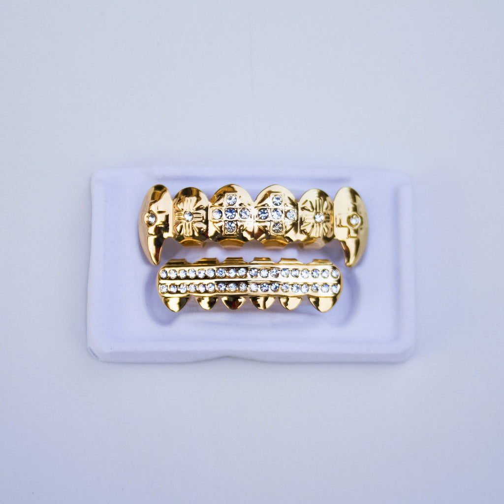 Fake CZ Gold Fang Grillz
