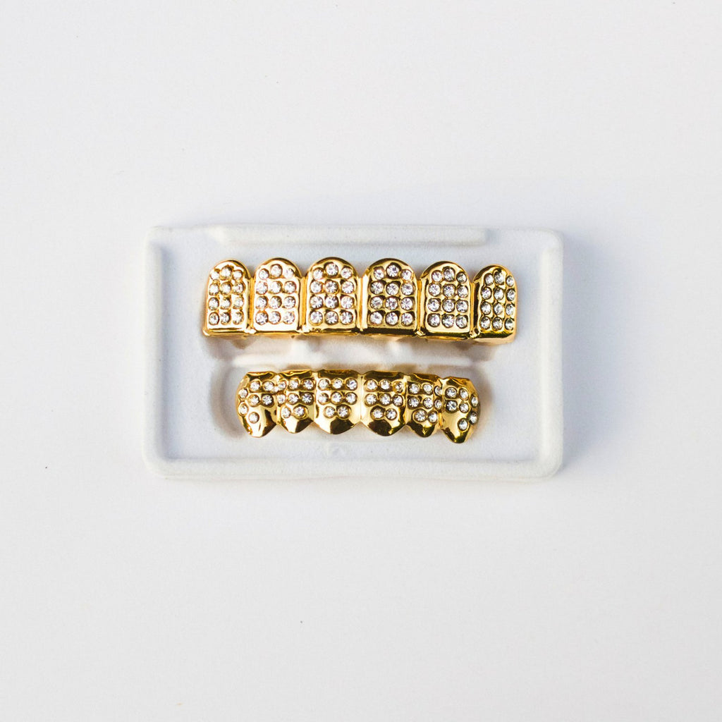 Fake Gold Diamond CZ Grillz