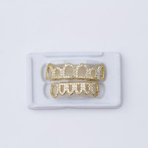 Fake Open Face Grillz With Diamonds
