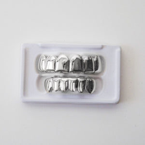 White Gold Grillz Bottom (14k Gold Plated 6 Teeth)