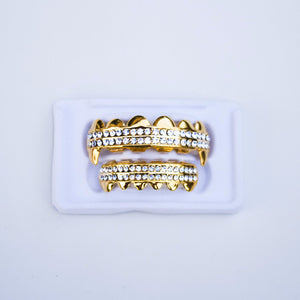 Fake 14k gold diamond grillz