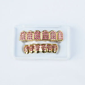 Fake Pink Diamond CZ Grillz