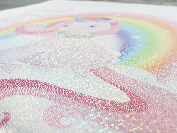 Unicorn with Rainbow Personalized Glitter Sparkle Pillow Cover - Incandescently - Glitter Sparkle Throw Pillows - Farmhouse Decor