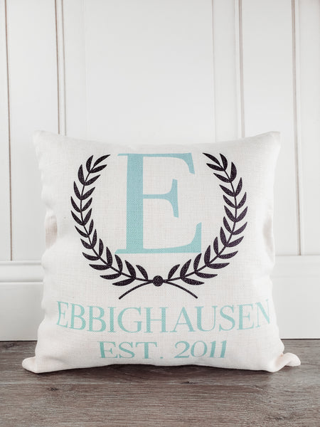 Last Name Established Rustic Country Farmhouse Throw Pillow - Incandescently