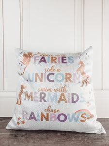Dance with Fairies, Ride a Unicorn, Swim with Mermaids, Chase those Rainbows Glitter Sparkle Throw Pillow Cover - Incandescently - Glitter Sparkle Throw Pillows - Farmhouse Decor